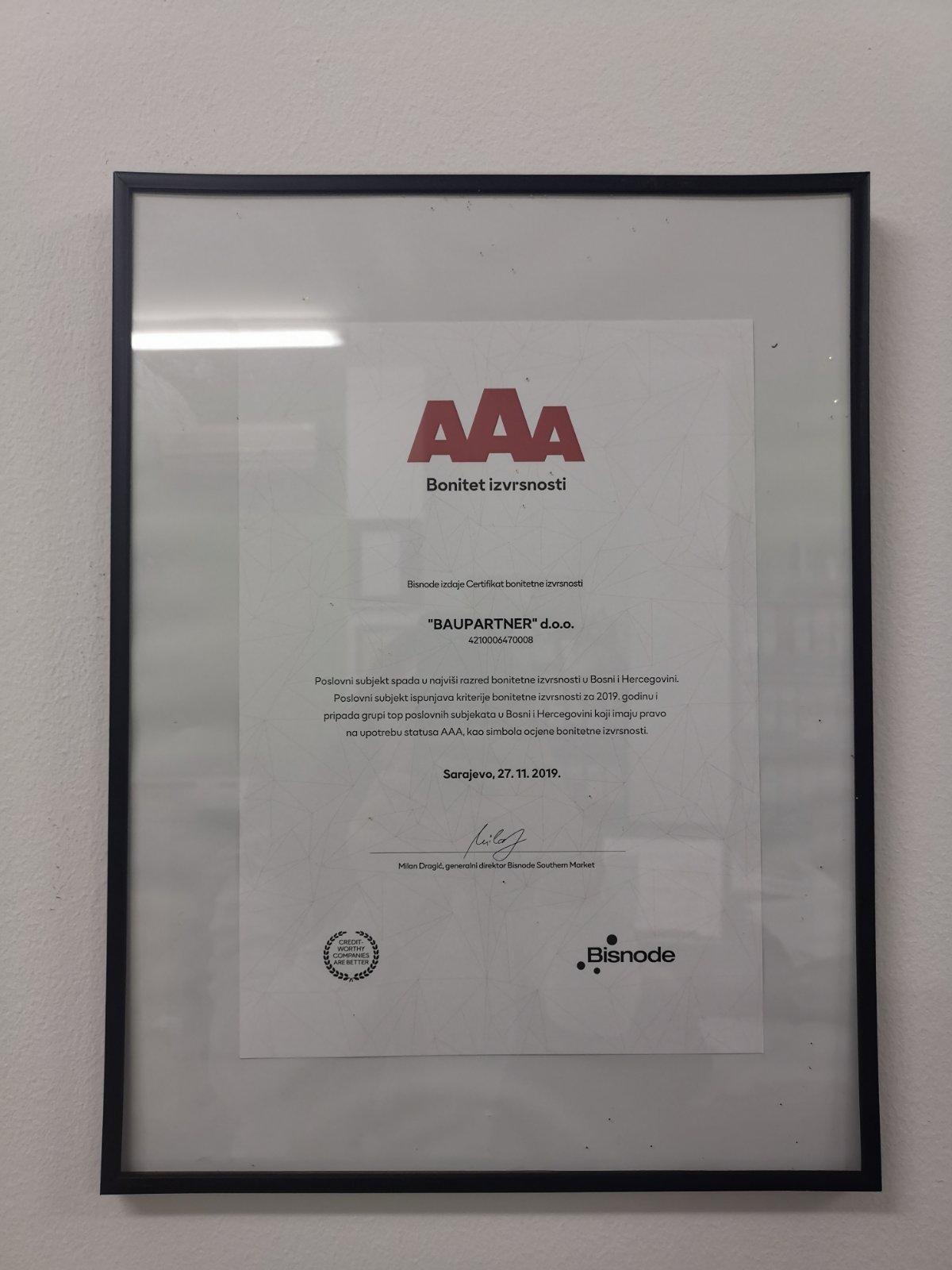 Certifikat bonitetne izvrnosti